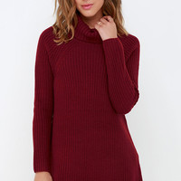Apple Pie Order Wine Red Sweater Dress