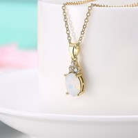 Opal Three Stone Classic Gold Necklace