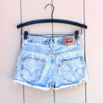 Levis high waisted denim shorts - Plain Cheeky Cutoffs