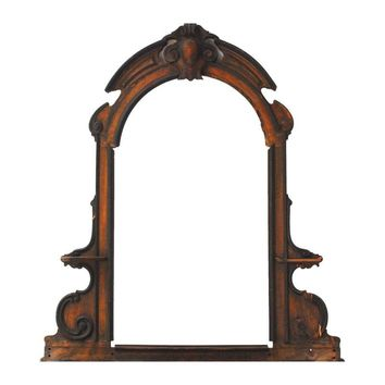 Pre-owned Antique French Carved Walnut Dresser Mirror Frame