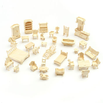 Hot Selling DIY Mini 34pcs set Kids Educational Dollhouse Furniture 3d Woodcraft Puzzle Model Kit handmade Toys Children gift
