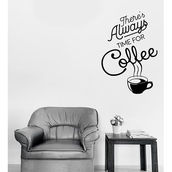 Wall Vinyl Decal Time for Coffee Words Quotes Coffee Shop Sticker Decor (n1143)