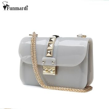 New arrival summer pure PVC Jelly bag colors candy women bags fashion trendy chain bag Rivet design messenger bags WLHB1308