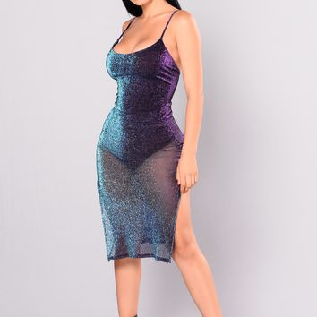 Catherine Metallic Dress - Purple Multi
