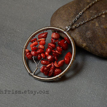 Red Coral Tree of Life Wire Wrapped Necklace or Choker | Tree Necklace | Red Gemstone Tree | Silver Tree of Life Necklace | Tree choker