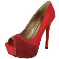 Qupid Satin Glitter Sexy Peep Toe Stilettos Pumps Qumiriam-53 Red or Silver:Amazon:Shoes