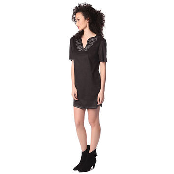 Women's Black Suede 3/4 Sleeve Dress With Embellished Detail