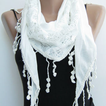 15% sale Ivory cotton lace scarf,summer shawl