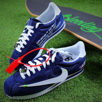 OFF WHITE x Nike Classic Cortez Leather Sport Running Shoes Blue Shoes