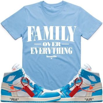 FOE Carolina Sneaker Tees Shirt - Jordan 1 UNC Off White