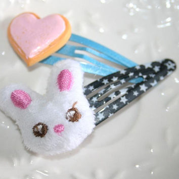 Bunny hair clips Cute soft bunny For Girls Kawaii by AngelPearls
