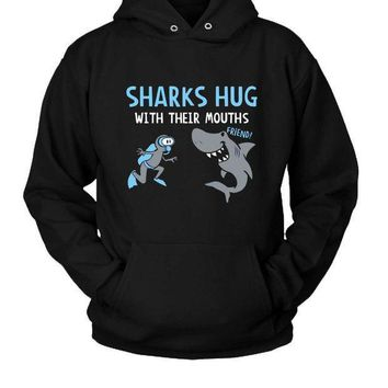Sharks Hug With Their Mouth Hoodie Two Sided