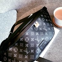 Free shipping-LV black old flower female shoulder bag chest bag