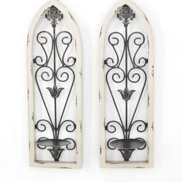 Rustic Floral Wall Candle Holder Sconce Set