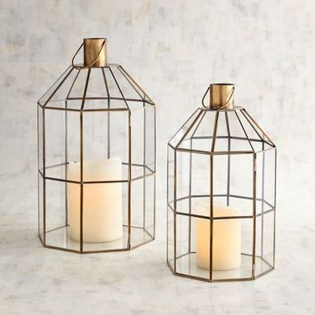 Olivia Brass Finish Metal Terrarium Lanterns