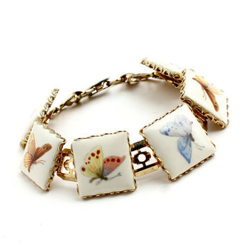 Vintage Butterfly Bracelet -  Gold Tone 1960s Retro Glass Costume Jewelry / Colorful Insects