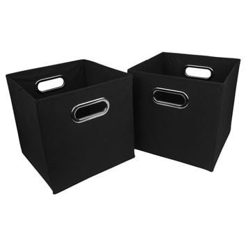 Evelots® Navy Or Black Foldable Fabric Cube Storage Bins, Set Of 2