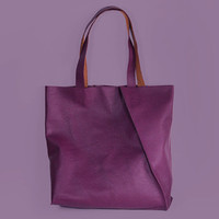 "Leather Tote ""Mary Ann Purple"", Italian Leather Shopping Bag, Purple Tote, Violet Leather Shoulder Bag, Handmade Tote, Genuine Leather Bag"