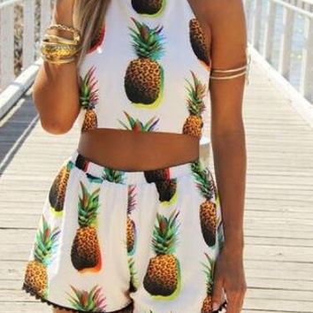 CUTE HOT PINEAPPLE TWO PIECE ROMPER