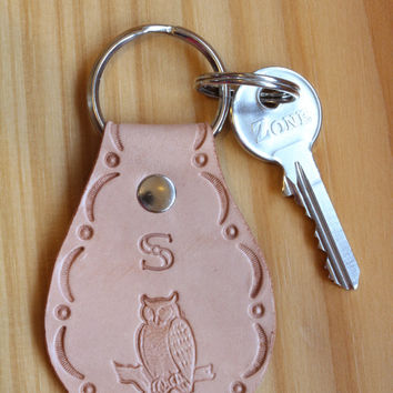 Personalized Keychain, Personalised Key Fob, Tooled Leather Keyring, Monogrammed Initial Keychain, Custom Made, Choice Of Designs And Colour