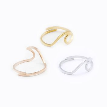 Bague Femme Stainless Steel Ocean Wave Rings For Women Beach Tidal jewellery Wedding Gifts New Rose Gold Anillos Mujer Bff