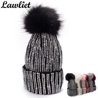 Lawliet Winter Hats Faux Fur Pom Pom Rhinestone Bling Style Women Beanies High Quality Warm Knitted Hat Ladies Skull Cap 6 color