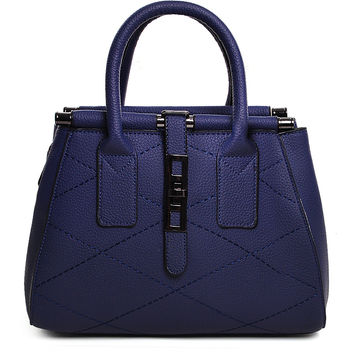 Blue Buckle Strap Detail Textured Tote Bag