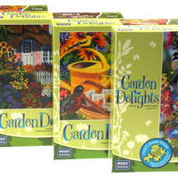 Garden Delights 750 Pc Jigsaw Puzzle Set 4 19x27 Watering Can Bird House Flowers