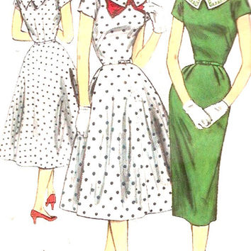 50s Spring dress Rockabilly style cocktail dress or slim dress Vintage Simplicity 1615 Sewing pattern Bust 34