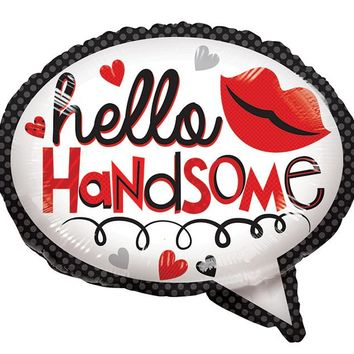 "Hello Handsome Helium Balloon in 18"" Thought Bubble Shape"