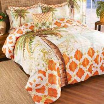4-Pc Tropical Palm Tree Full/Queen Comforter Set Decorative Pillow Shams Bedroom