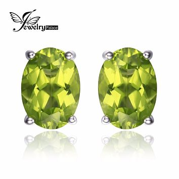 JewelryPalace Oval 1.8ct Natural Green Peridot Birthstone Stud Earrings Genuine 925 Sterling Silver Fine 2016 Jewelry For Women