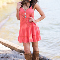 Sicily Crochet Shift Dress (Coral)