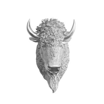 The Yellowstone | Large Buffalo Bison Head | Faux Taxidermy | Silver Resin