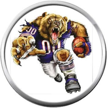 Mean Game Face Chicago Bears NFL Logo With Bear Football Lovers Team Spirit 18MM - 20MM Snap Jewelry Charm