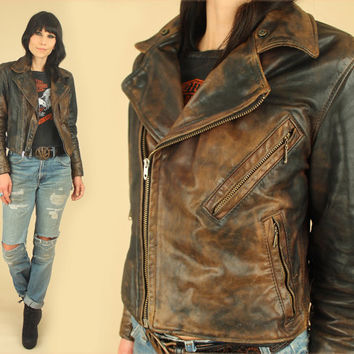 ViNtAgE 40's 50's Womens Black LEATHER Motorcycle Jacket TALON Zippers // Insane Patina // RARE Moto Biker Rocker Punk Heavy Metal S / M