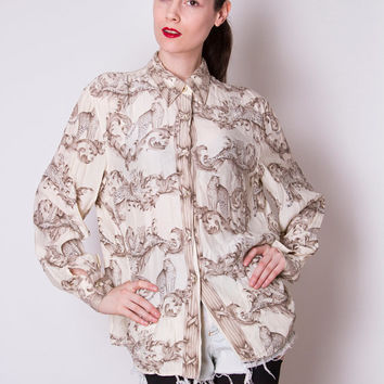 Vintage 1980s 1990s cream silk animal print Leopard baroque print long sleeve button down shirt blouse