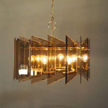 Mid Century Modern Smoked Glass 6 Light Chandelier // Angular Glass Panels with Gold Brass Accents //