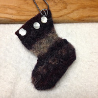 His and Hers First Christmas Felted Christmas Stocking Ornaments