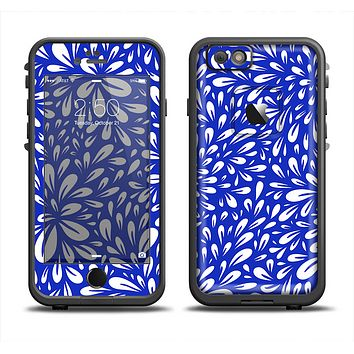 The Royal Blue & White Floral Sprout Apple iPhone 6 LifeProof Fre Case Skin Set