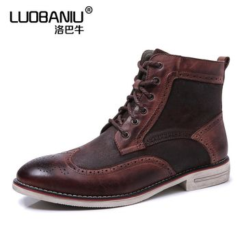 Big Size 11 Eur 45 Real Leather Oxfords Ankle Boots Mens Wing Tip Brogue Super Warm Plush Casual Winter Snow Boots