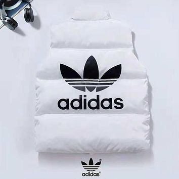 Adidas Autumn And Winter New Fashion Bust And Back Letter Leaf Print Keep Warm Down Coat Vest Top White