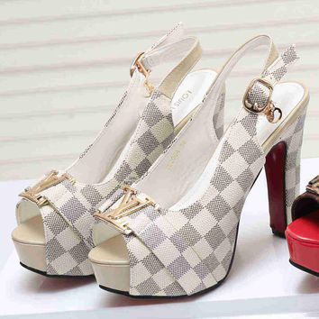 Louis Vuitton Women Fashion Tartan Heels Sandals Shoes