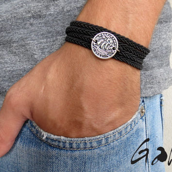 Men's Bracelet - Men's Boat Bracelet - Men's Coin Necklace - Men's Black Bracelet - Mens Jewelry - Bracelets For Men - Jewelry For Men