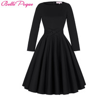 Belle Poque Women Vintage 50s Retro robe Rockabilly Dress 2017 Plus Size Elegant Party Long Sleeve Tunic Summer Casual Dresses