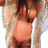Women Tropical Print Fringed Kimono Open Front Loose Casual Beach Cover Up Long Chiffon Tops = 1838477060