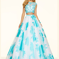 Two Piece Beaded Lace Paparazzi Prom Dress 98086