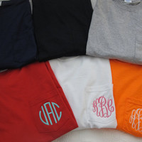 Long Sleeve monogrammed pocket tee