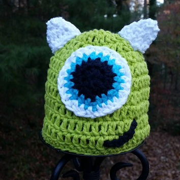 Disney inspired Monsters Inc. Mike Wazowski crochet hat