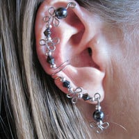 Non Pierced Simple Elegance Hematite and Crystal Ear Wrap Cuff